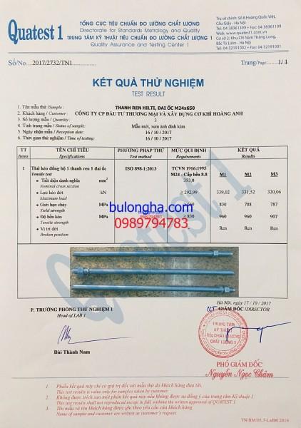 Chứng chỉ chất lượng Thanh ren Hilti + Đai ốc M24x650